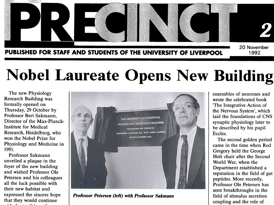 Opening of the new Physiology Research Building, Liverpool, 1992