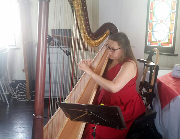 Welsh harp performance by Angharad Edwards at the reception