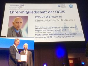 Professor Petersen receives his award from President Professor Markus Lerch MAE