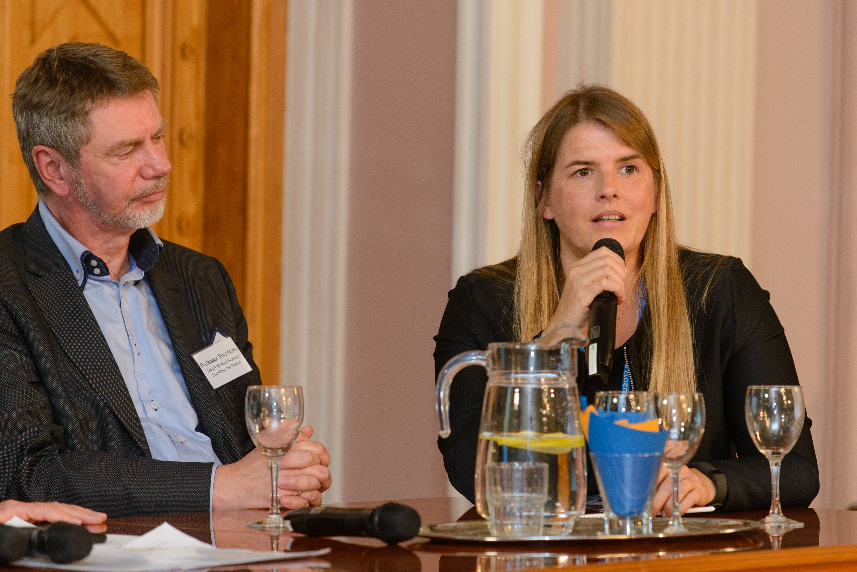 Professor Poul Holm (Food from the Oceans Working Group Chair) and Professor Nicole Grobert, Panel of representatives from the academic community, Crossing boundaries: new approaches to science for policy in Europe, Estonian Academy of Sciences in Tallinn, 13 October 2017
