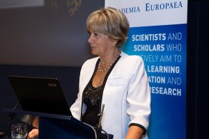 Professor Eva Kondorosi, Vice-President of the European Research Council delivering a laudatio