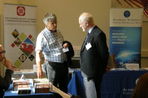 Prof Peter Halligan at University of Wales Press stand