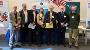 The panel of speakers (left to right: Prof Ole Petersen, Dr Dion Curry, Prof Mike Bowker, Wendy Sadler MBE, Prof John Tucker, Prof Peter Halligan, Prof Robert Evans)
