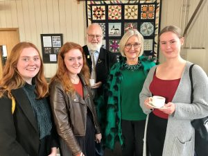 Artist Bodil Friele and Organiser of the exhibition, Mr Terje Inderberg, with Norwegian students studying in Cardiff