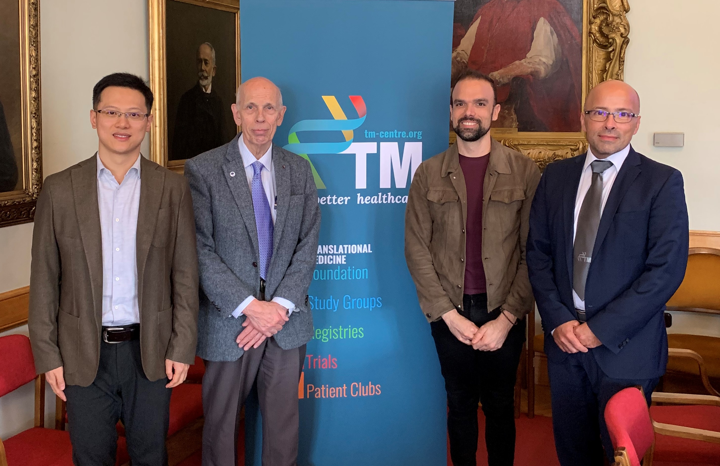 Translational Medicine Conference at the Hungarian Academy of Sciences  From left to right: Dr Shuang Peng, Professor Ole Petersen CBE MAE FRS Dr Joao Monterio and Professor Peter Hegyi MAE