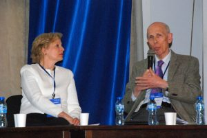 Prof Pearl Dykstra and Prof Ole H Petersen during the session on Food from the Oceans