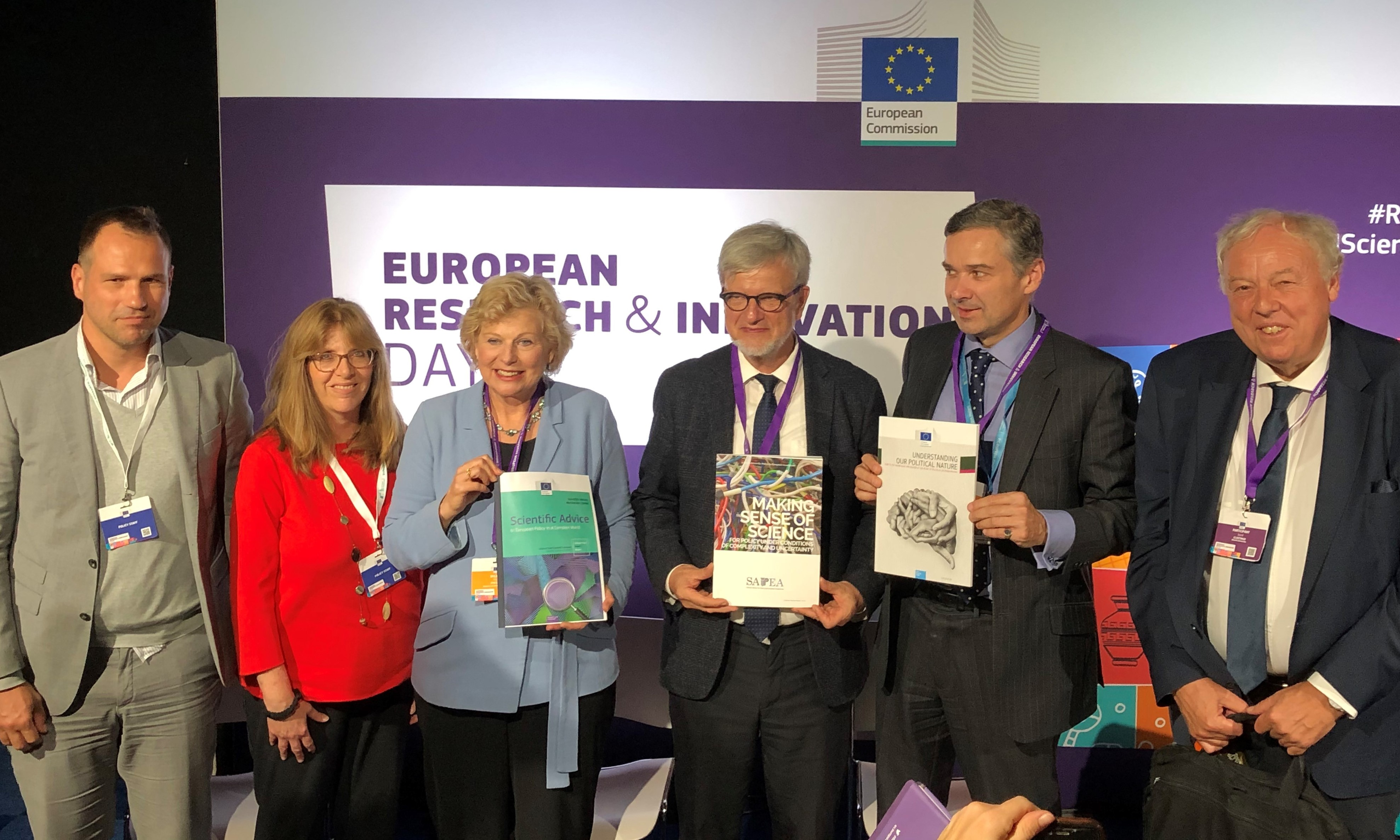 The scientific opinion by the EU Chief Scientific Advisors are presented to the public Left to right: Dr Piotr Kwiecinski, Louise Edwards, Professor Pearl Dykstra, Professor Ortwin Renn, Dr David Mair, and Professor Sierd Cloetingh