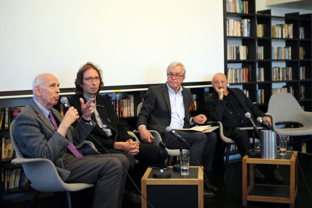 Professors Ole Petersen, Jeroen van der Sluijs, Risto Nieminen and Silvio Funtowicz during the panel discussion in  session 1