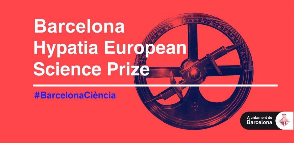 """Image showing a scientific instrument with wording """"Barcelona Hypatia European Science Prize #BarcelonaCiencia"""""""