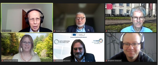 Image of the five speakers and chair of the webinar taking part in the zoom webinar